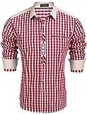 COOFANDY Trachtenhemd Herren Hemd Kariert Oktoberfest Cargohemd Baumwolle Freizeit Hemden Super Qualität- Gr. M, Winerot