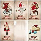 15 Lustige Weihnachtskarten/Set mit 5 witzigen Weihnachtsmann-Motiven / 5 Motive x 3 = 15 Grusskarten im A 6 Format (14,8 x 10,5 cm) im Retro/Vintage-Stil von EDITION COLIBRI (11051-55)